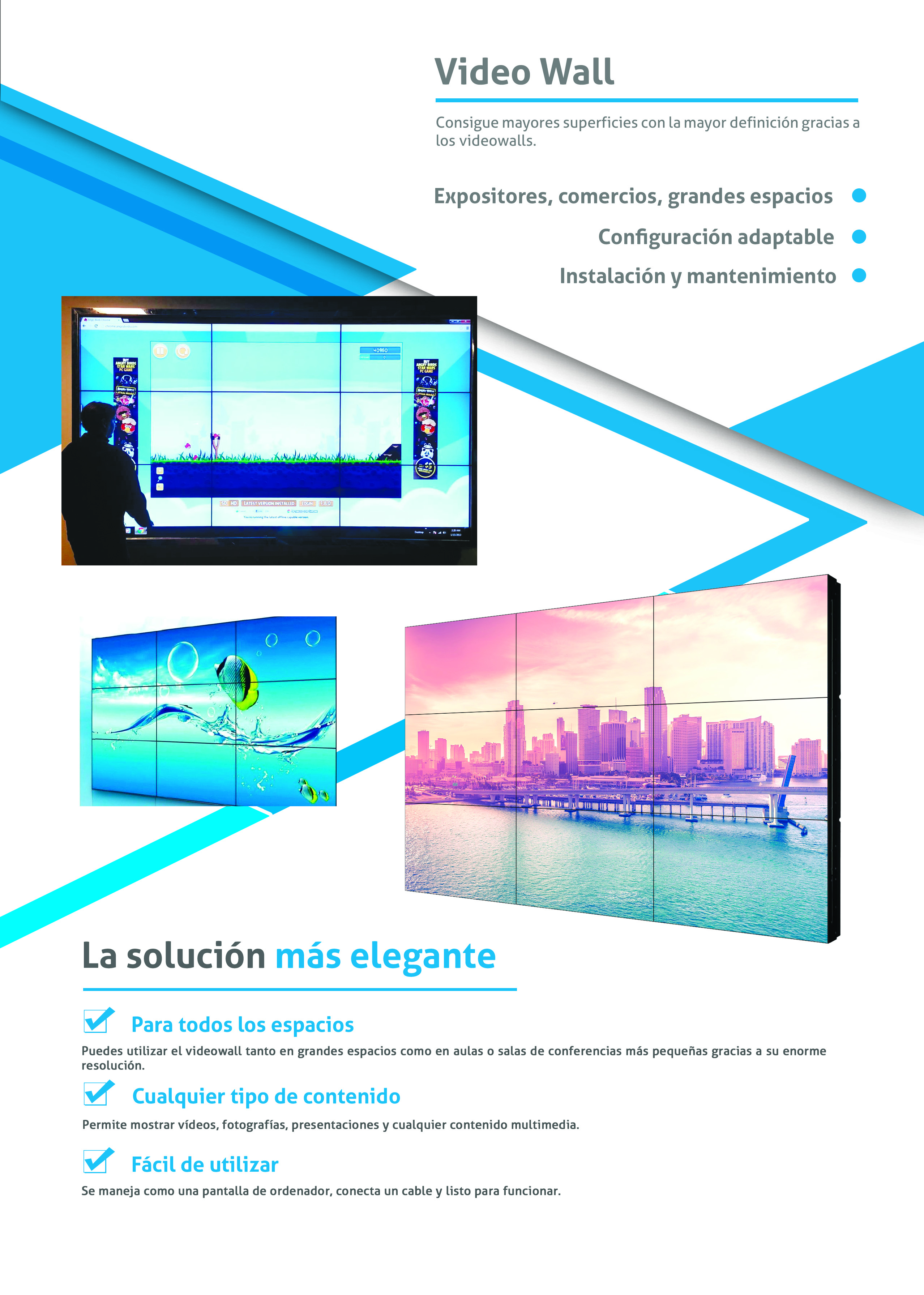 Flyer informativo sobre el Vídeo Wall