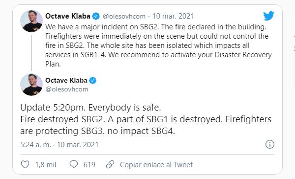 OCtave Klaba comunicado Twitter incendio OVH Estrasburgi